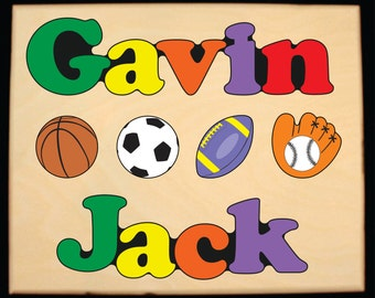 Custom 2 Name Sports Theme Puzzle - An educational toy puzzle for preschool toddler children to learn their 2 names and colors.