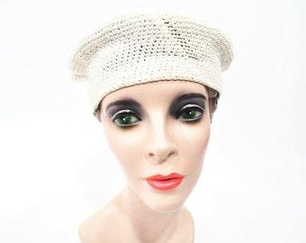 1960s beret vintage 60s white knit cap hat