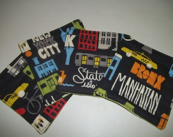 Fabric Coasters Set of 4 New York City NYC