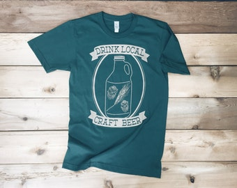Drink Craft Beer Tshirt - Mens Tshirt | Mens Tshirts | Tshirt Men - Beer Growler - Beer Gift - Craft Beer - Beer Gift for Men - Gift for Him