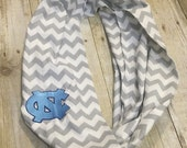 UNC tarheels gray chevron infinity scarf - monogram scarf / personalized scarf / basketball  / football