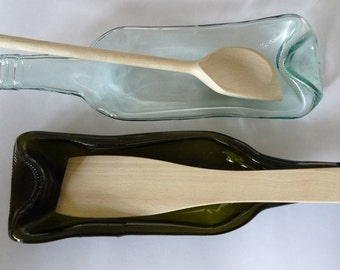 Set of Two Recycled Lovely Wine  Bottle Bowl/Dish/Spoon Rest with Wooden Spoon/Spatula
