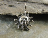 Sterling Silver Charms - Tiny Sterling Sun Charms - One Piece - cpprss