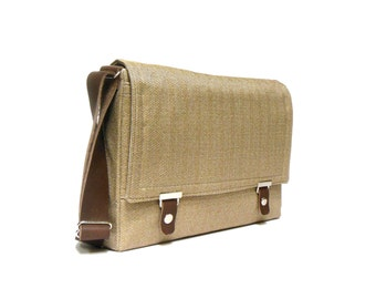 "15"" MacBook Pro Retina messenger bag with leather strap - light brown herringbone"
