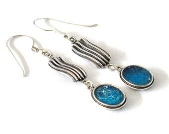 Roman Glass Delicate Earrings, Ocean Blue Roman Glass Earrings, Oval Sterling Silver Earrings, Vintage Romantic Gift, Dangle Oval Earrings