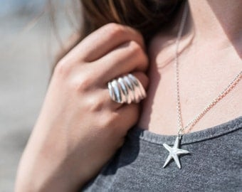 Starfish Necklace, Solid Silver Starfish Pendant, Ecofriendly Recycled Silver, Beach Surf Jewellery, Cast from a real starfish, Gift for Her