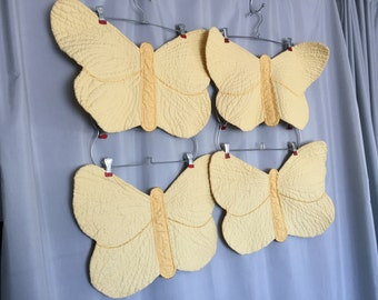Yellow Butterfly Placemats Set of 4 Vintage Quilted 100% Cotton Table Linens