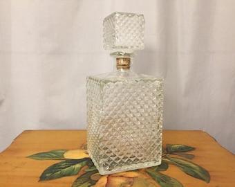 Glass Decanter Bottle with Square Cork Topper Vintage Vintage Liquor Barware