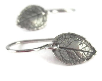 Small Leaf Earrings Sterling Silver Tiny Dangle Earrings Silver Leaf Leverback