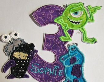 Character Birthday Applique - Iron or Sew On Embroidered Custom Made Applique