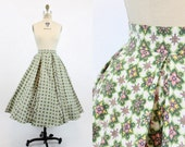 50s Circle Skirt Small / 1950s Vintage Cotton Pleated Floral Skirt / The Beaumont Skirt