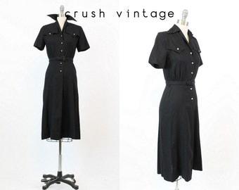30s Dress Linen XS / 1930s Vintage Black Rhinestone Button Dress / The Fairbanks Frock