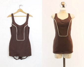 60s Swimsuit Peter Pan Oleg Cassini Large / 1950s Swimwear One Piece  /  Chocolate Truffle Maillot