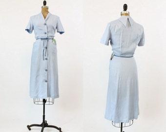 40s Dress NOS Linen XS / 1940s Vintage Deadstock Button Down Dress / Forever Young Blue Dress