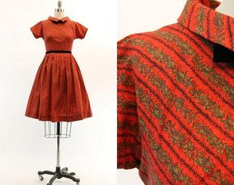 50s Dress Cotton NOS XS / 1950s Vintage Floral Novelty Print Dress / The Siena Dress