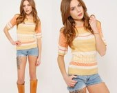 Vintage 70s STRIPED Crop Sweater TINY FIT Sweater Pullover Short Sleeve Knit Top