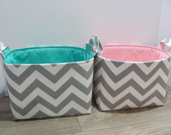 2 LARGE Fabric Organizer Baskets - Twins - Storage Container Toy Bin Diaper Caddy Bucket Bag - Home Decor - Size Large - Grey Chevron Zigzag