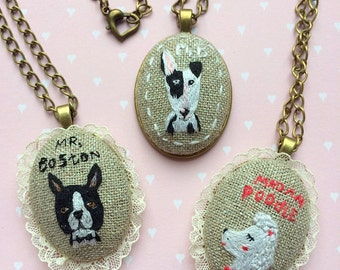 "Necklace with hand embroidered dog pendant  - ""Mr. B"" -  Bullterrier jewelry. Unique textile jewelry by makikoart"