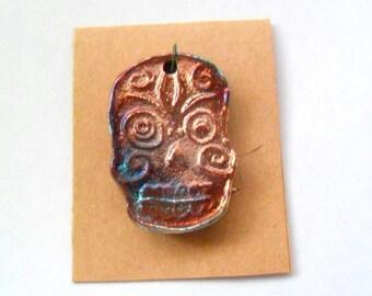 Raku Fired Clay Pendant or Bead - Dia De Los Muertos - Skull - Day of the Dead