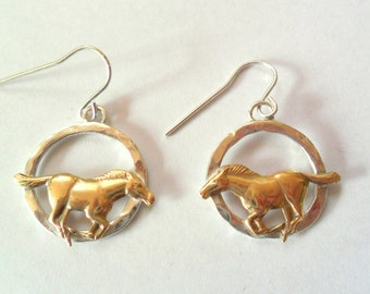 Artisan Running Horse Sterling and Vintage Brass Earrings