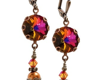 Vintage Volcano Rivoli and Simulated Pearl Earrings with Crystal from Swarovski, Round Stone Crystal Earrings