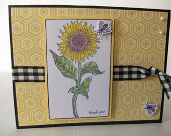Pretty Yellow Sunflower Card, Botanical Card, Handmade Thank you Sunflower Card, Handstamped Sunflower with Bumble Bee's Card
