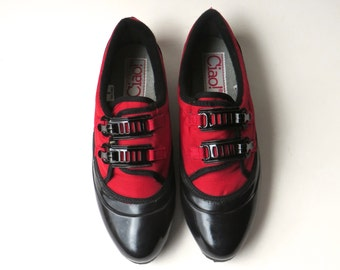 80s vintage Ciao! Red and Black Rubber Duck Shoes NOS / Rainy Day Duck Shoes