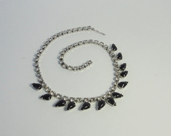 Vintage Silver tone with Clear Rhinestones and Jet Black Pear shaped Glass  cabs Choker Necklace.