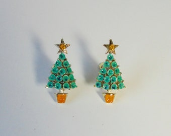 Gold Tone with Turquoise Blue and Yellow Enameled Christmas Tree Earrings.