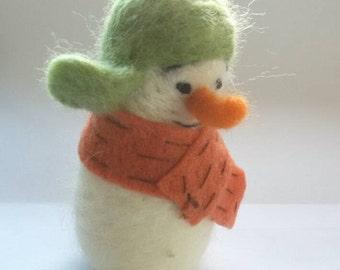 Needle felted Snowman wearing a Bomber Hat - Felt Snowman - Eco friendly Christmas decor - Ready to Ship