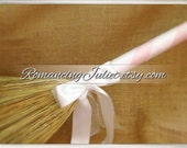Classic Jump Broom Made in Your Custom Colors with Rhinestone Accent ..shown in white/pale pink