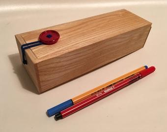 Wooden Pencil Case With Button Closure - Ash