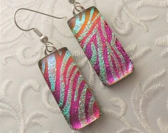 Dichroic Fused Glass Earrings - Glass Earrings - Dichroic Earrings - Dichroic Jewelry - Cute Earrings - Pink Earrings X7451
