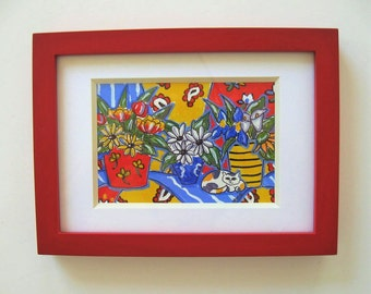 "Original acrylic calico cat and still life painting, red frame, 8"" x 6"", French Country decor, daisies, tulips, Iris, calla lilly, gift idea"