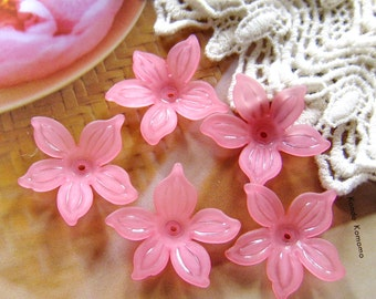 10 pcs 27mm - FROSTED fully blossom flower beads (FL021-E)