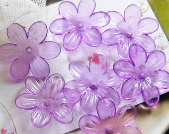 20 pcs 25mm - Light purple six petals flower beads ( FL053-C)