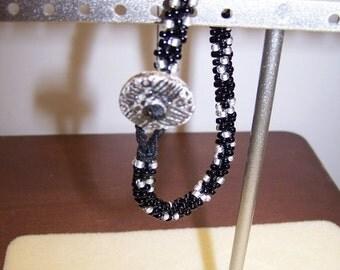 CLOSING SALE Kumihimo Black White Button Bracelet