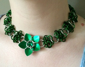 Chainmail Lace Flower Choker