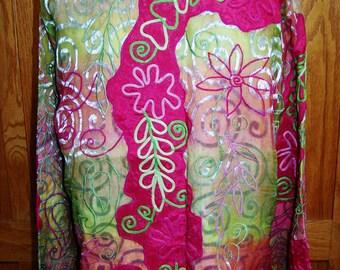 Embroidered Jacket, Floral Jacket, Festival Jacket, Wearble Art Coat, Lightweight Jacket, size XL