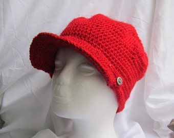 Hand Crochet Red Hat with Brim