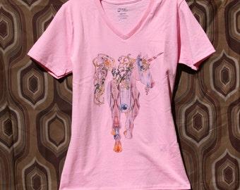 Pink Unicorn T-Shirt V-Neck Ladies Womens Girls Graphic Tee Legend Clothing Fantasy Patterned