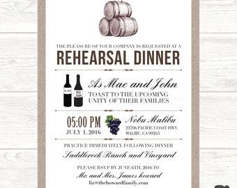 Printable Winery Rehearsal Dinner Invitation
