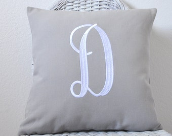 Monogrammed Pillow in Gray home decor fabric WITH INSERT Shower Gift Wedding GIft  Personalized Pillow Cover  Choose Your Size and Style