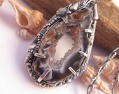 Crystal Cave Silver Agate Crystal Pendant with 24 inch Fine Silver Chain OOAK Handforged by Leaping Frog Designs