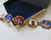 Vintage Souvenir Bracelet N.Y.C. Enameled Copper Link Circa 1930's