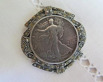 Silver Half Dollar Pendant/Brooch with Hematite Liberty Dollar Coin Vintage 1943