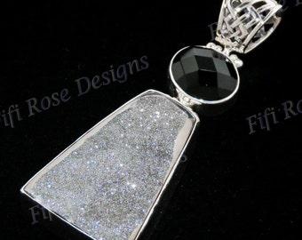 "2 1/4"" Moon Silver Titanium Druzy Drusy Onyx Gem 925 Sterling Silver Pendant"