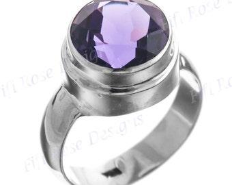 Big 4.5ct Purple Amethyst 925 Sterling Silver Sz 6 Ring