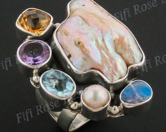 Biwa Pearl Mixed Gemstones 925 Sterling Silver Sz 6 Ring