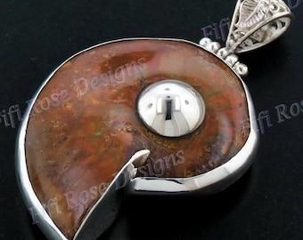 Iridescent Ammonite Fossil Ammolite 925 Sterling Silver Pendant